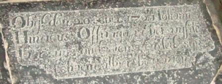 Obyt den 20 Xber 1721 Iohannes Hinricus Offringa in het vyfde jaar syns ouderdoms en leit syn lichaem alhier begraven